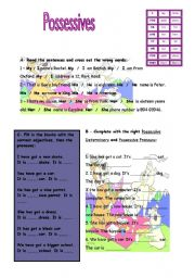 English Worksheet: Possessive adjectives and pronouns