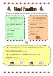 English Worksheet: Grammartical Word Families