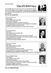 English Worksheet: The job interview