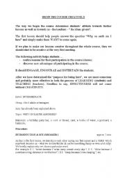 English Worksheets: creative activities