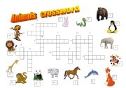 English Worksheets: Animals crossword (1/2)