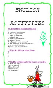 English worksheet: ENGLISH ACTIVITIES FOR KIDS