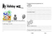 English Worksheets: After Holiday writing sheet