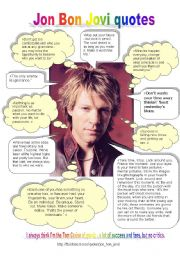 English Worksheets: jon bon jovi quotes