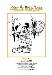 English Worksheet: Colour the Mickey Mouse