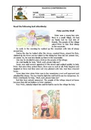 English Worksheet: Peter and the Wolf - Reading Comprehension
