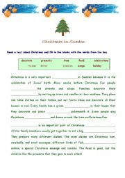 English Worksheet: Christmas is coming soon!!!!-  reading comprehension