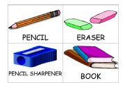 flash cards classroom objects