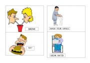 English Worksheets: flash cards actions