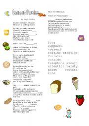 English Worksheet: bananas and pancakes