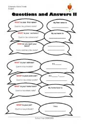 English Worksheets: Questions and Answers II