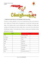English Worksheet: Christmas traditions