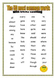 English Worksheet: 50 Most Common Words with TRICKY SPELLING