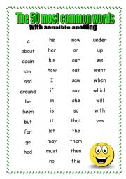 English Worksheets: 50 Most Common Words with SENSIBLE spelling