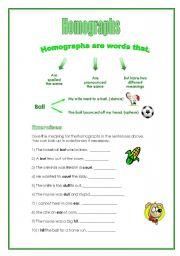 English teaching worksheets: Homographs