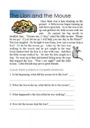 Reading comprehension Tuhe lion and the mouse