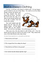 English Worksheets: Reading Comprehension wolf in sheeps clothing