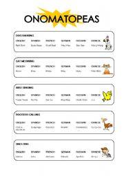English Worksheets: Onomatopeas