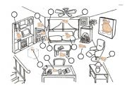English Worksheets: PREPOSITIONS OF DESCRIPTION-1) at (the Window)2) above (the Black Mouse)3) below (the brown Mouse)4) between ( the sofa and the bookcase)5) on (the sofa)6) in front of (the fireplace)7) in (the box)8) under (the  coffee table )9) behind (the recliner)10)
