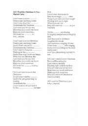 english worksheet song all i want for christmas is you - All I Want For Christmas Song
