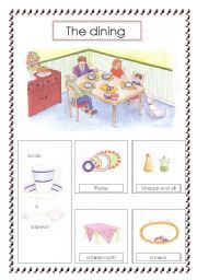 Things in the dining room worksheet for Dining room vocabulary esl