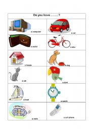 English Worksheets: Do you have...?