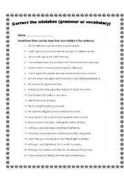 English Worksheets: Correct the mistakes Part 2