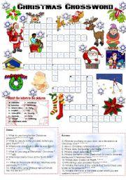 English Worksheet Christmas Crossword 05122008