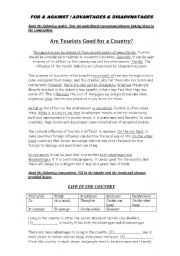 English Worksheet: Writing Essays: For and Against