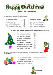 english worksheet john lennons happy christmas - John Lennon Christmas Song