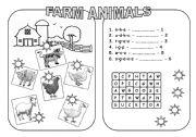 English Worksheets: Farm Animals (B&W version)