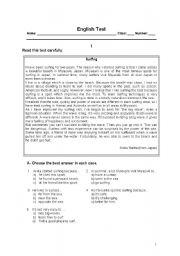 English Worksheet: English Test - 8th grade - Extreme sports