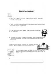 English Worksheets: Addition and Subtraction