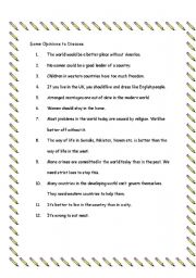 English Worksheets: Opinions to Discuss