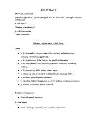 English Worksheets: plain crash- skills integration
