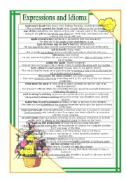 English worksheet: Expressions and Idioms