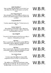 English Worksheets: W.B.R. Coupons