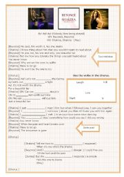 English Worksheet: Shakira and Beyonc�s song - Beautiful liar.