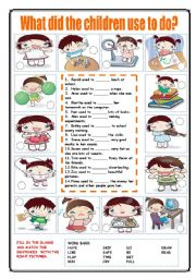 English Worksheet: What did the children use to do?