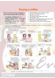 English Worksheet: buying a coffee role play and conversation maker (010)