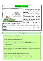 English Worksheets: God and the Man