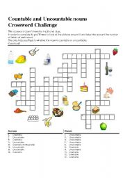Countable and Uncountable Nouns: Crossword challenge
