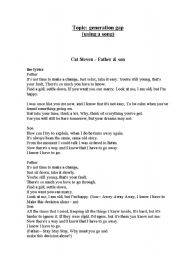 English Worksheet: song: Father and Son by Cat Stevens