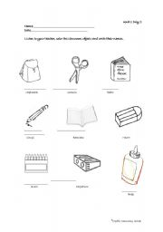 classroom objects worksheet by meztli. Black Bedroom Furniture Sets. Home Design Ideas