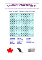 Canada word search word search based on canadian country studies level