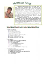 English Worksheets: reading comprehension: harrison ford