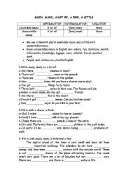 English Worksheet: much, many, a lot of, few. little