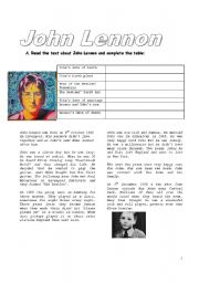 English Worksheet: John Lennon (3 pages)