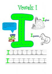 vocabulary worksheets the alphabet the vowels vowel i