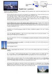 English Worksheet: test questions - Washington DC